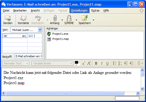 Default email client with selected files auto-attached